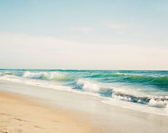 Beach Photography, Coastal Wall Art, Carlsbad California Beach, Sea Green, Coastal Beach Decor, Soothing, Summer