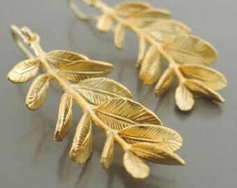 Gold Earrings - Leaf Earrings - Branch Earrings - Statement Earrings - handmade jewelry