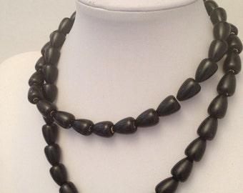 Napier Black & Gold Bead Necklace - long