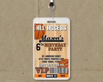 15 Basketball Birthday Party VIP Pass Style Invitations