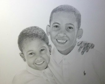 Custom Portrait From Your Photo - 16x20 Original Family Pencil Sketch Drawing From Picture