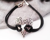 Heart Bracelet Silver Metal Leather Hipster Teen Girl Gift Jewelry Women Tween Girl by Absolute Jewelry