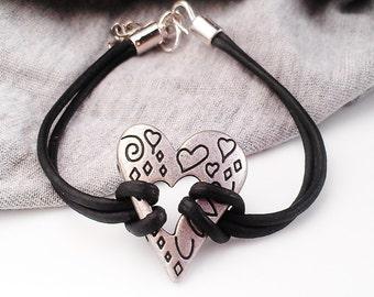 Heart Bracelet Silver Metal Leather Hipster Teen Girl Gift Jewelry Women Tween Girl