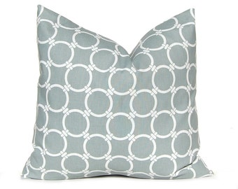 Gray Pillow Covers, Decorative Pillow Throw Pillow Cover, Gray Cushion Cover Toss Pillow One All Sizes Gray White Circle Chain Link