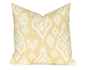 Decorative Pillow Cover, Gold Pillow Cover, Throw Pillow, Yellow Gold Ikat Pillow Cover, Cushion Cover, Toss Pillow, Home Decor, All Sizes