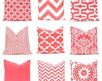 Coral Pillow Covers - 22 x 22 - Decorative Throw Pillow Covers - Beach Decor - Coral Chevron Pillow Cover - Coral Solid Pillow Cover
