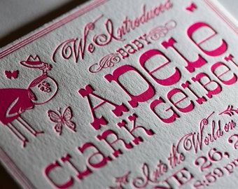 Pink Butterfly Custom Letterpress Birth Announcement for Twins