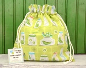 MEDIUM Reusable Drawstring Bag-for Toys, Gifts, Crafting or Storage in Backyard Baby Bug Jars Green by Michael Miller