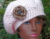 Hand Crochet Hat  pink slouch hat chemo cap