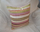 Candy Stripe Print, SALE, Chartreuse, Pink, Purple, Red and Ivory, 16x16, Ready to Ship, By Sew Custom Designs