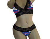 Sexy Buffalo Bills NFL Lingerie Black Lace Cami Bralette Style Tie-Top and Matching G-String Panty Thong CUSTOM Sizing