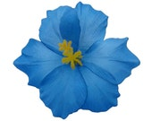 6 PCS. 4.50 inches Blue Hawaiian Hibiscus flower Craft and Decoration