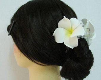 Hawaiian Plumeria Foam Flower Hair Claw Pick color