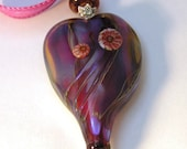 Nouveau Organic Pendant no. 2 in red and blue:  Pendant  Handmade Lampwork focal SRA UK FHFteam Y3