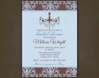 Bridal Shower Invitations Damask Chandelier, Printable File