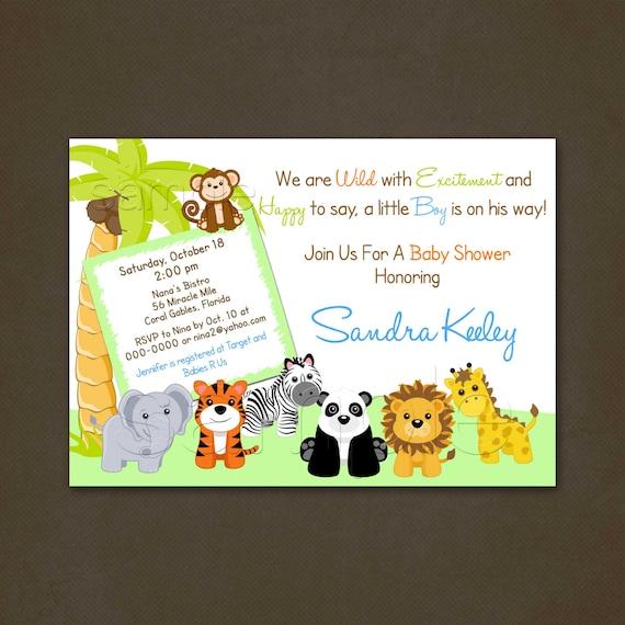 Jungle Safari Baby Shower Invitations,Tiger, Elephant, Panda, Lion, Giraffe, Monkey