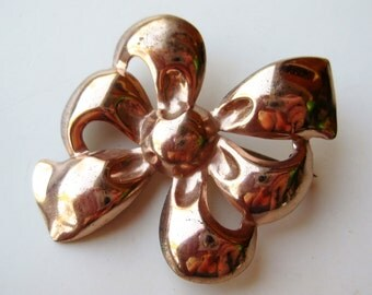 Vintage Rose Gold Vermeil Sterling Silver Ribbon Brooch Pin
