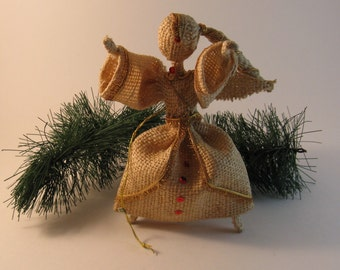 burlap angel  ornament mr christmas  new old stock  made in japan 7 inches tall original package