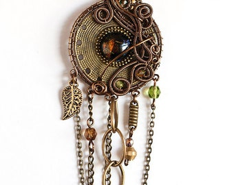 OOAK Industrial brown and blue eye wire wrapped pendant with chains