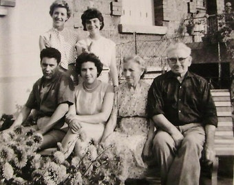Vintage French Photo - Family Outside in the Garden