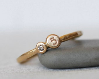 Tiny Diamond Gold Initial Ring -  1.6mm Band - Personalized Diamond Stacking Ring- Number OR Initial Ring - Eco-Friendly Recycled Gold