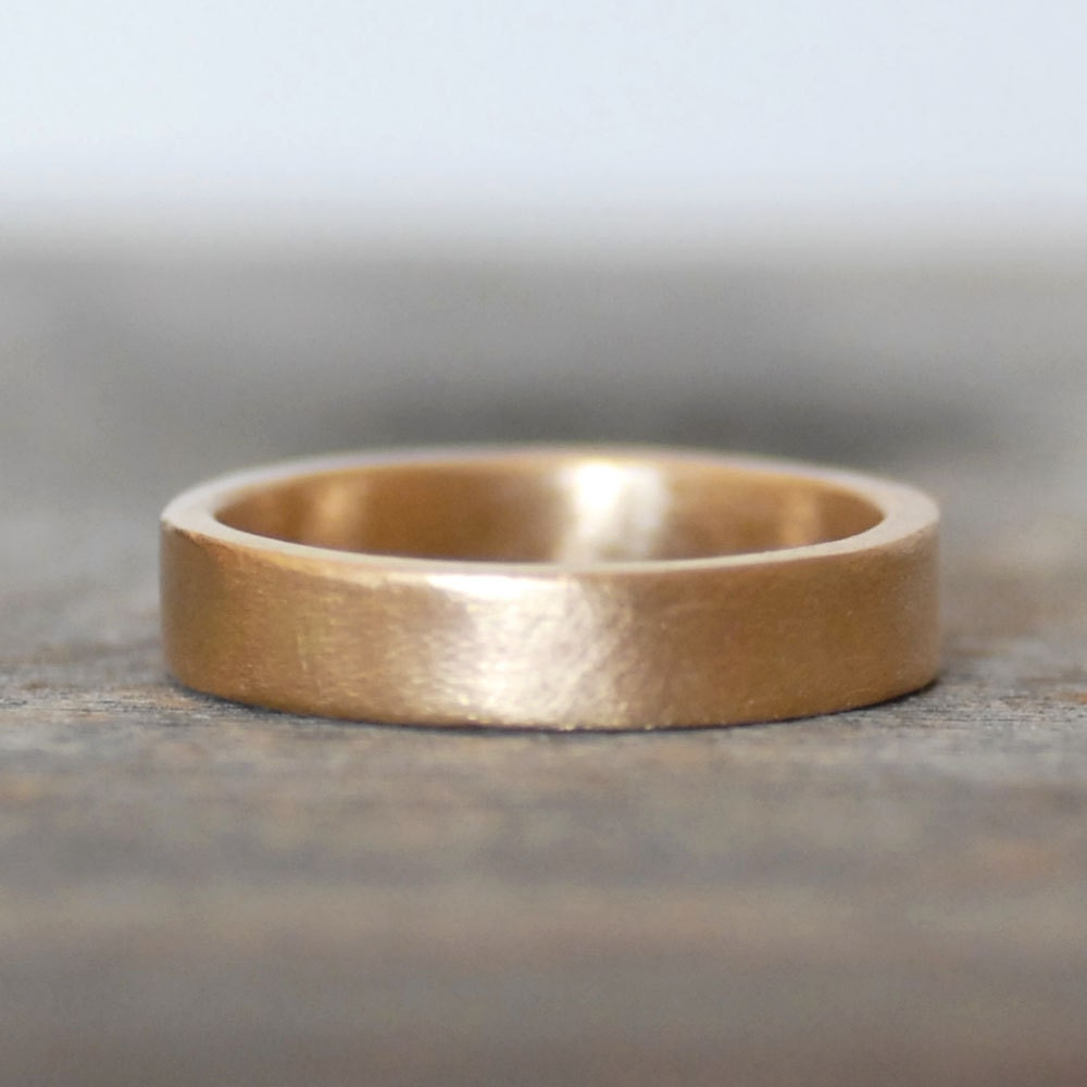 thick gold wedding band 4mm wide gold ring gold wedding