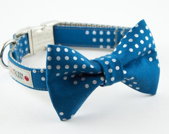 Teal Blue Silver Dots Bow Tie Dog Collar