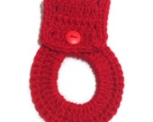 Crochet Towel Ring with Button Closure in Red