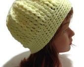 Cabled Lemon Yellow Beanie Womens Crochet Hat