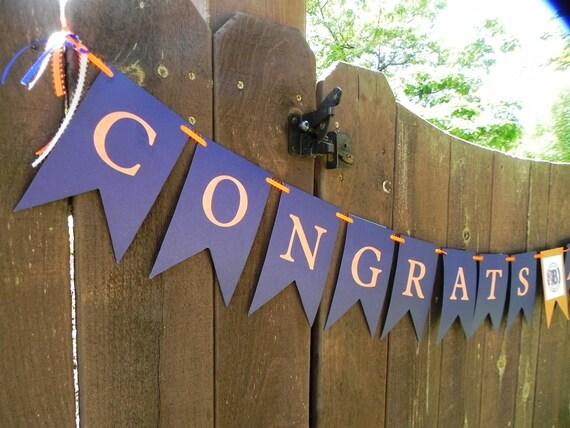 Custom Congratulations Graduation, wedding, retirement Banner---Personalized---Customization of  school colors included