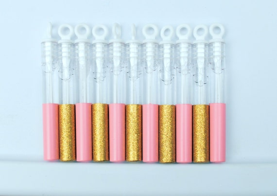 Pink and Gold Bubbles for Wedding, Glitter Favors, Bubble Wands, Pink and Gold Wedding Favor 50pcs
