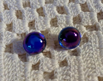 Royal Blue with a Touch of Rainbow Post Earrings