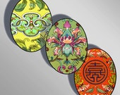 Chinese Ornament Ovals, TWO Sheets - 30X40mm AND 18X25mm, Digital Printable Images for Pendants Earrings Cabochons Paper Crafts, CS 29