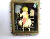 JESUS ICON ASSEMBLAGE / Original Mixed Media Whimsical Religious Art