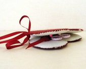 Hand stitched sewing kit in red