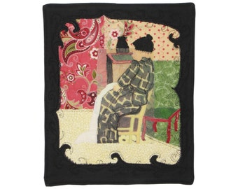 "Art quilt ""From morning to night"" - Quilt - Wall hanging - 8"" x 10"" -  textile art - Vuillard - woman - impressionnist - sewing"