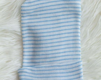 3 pieces of Blue and White Striped Single Ply Boy Newborn Hospital Hat - Baby Beanie - Craft Supplies lot