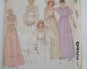 McCalls Pattern 6405, Misses' Bridal Dress, Size 12 Bust 34, Uncut