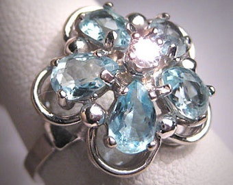 Vintage Aquamarine Diamond Ring Retro Deco White Gold Wedding