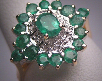 Vintage Emerald Diamond Ring Wedding Estate Retro Deco