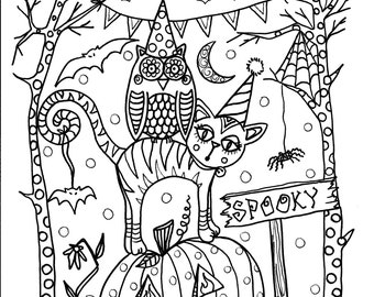 5 Pages Instant Download Halloween Coloring Different Designs To Color Digital Digi