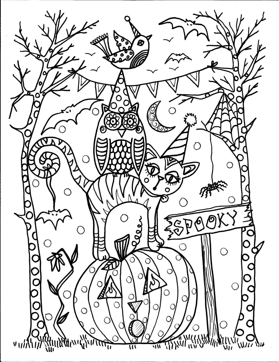 5 pages instant download halloween coloring pages 5 different