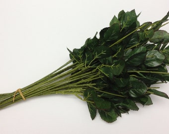Greenery - 20 Artificial Flower Stems with Dry Look Rose Leaves for DIY Wedding Bouquets, Flower Arrangements