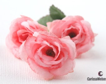 Silk Flowers - 18 Mini Roses in Peachy Pink (2 Sets of Nine) - Small Flowers - Artificial Flowers