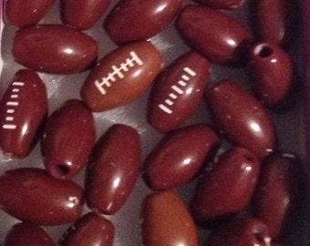 25 Acrylic Football Beads