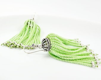 Pistachio Green Beaded Tassel Dangly Statement Earrings - Sterling Silver Earwire
