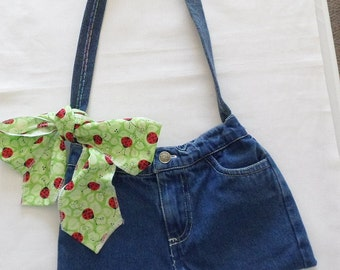 Girls Jean Purse Girls Upcycled Denim Bag Purse Repurposed Jeans Gift for Girls Christmas Gift
