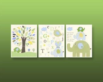 Baby boy nursery wall art, baby boy decor, boy nursery print // Nursery set of 3 PRINT // Eli Elephant, kids room art // Blue green cream