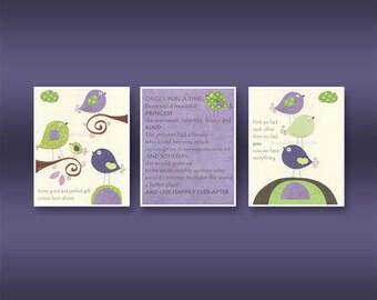 Baby girl Room Decor Nursery Art birds..Violet Green Baby Bird, love birds, Set of 3 print, purple, apple green, once upon a time, first we