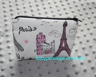 Padded Cosmetic Bag/ Gadget Case -  Glittery Pink Silver and Black Parisian